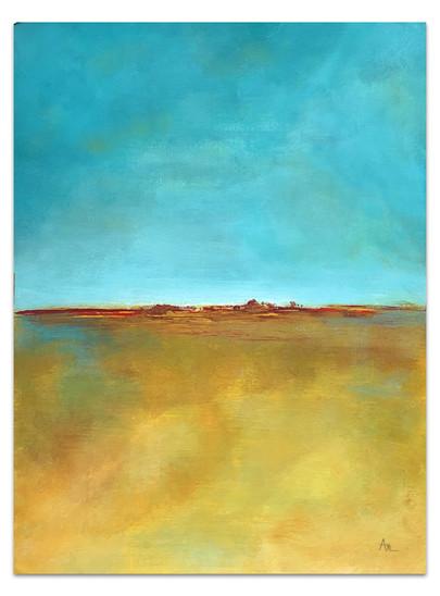 aqu and gold minimalist landscape painting