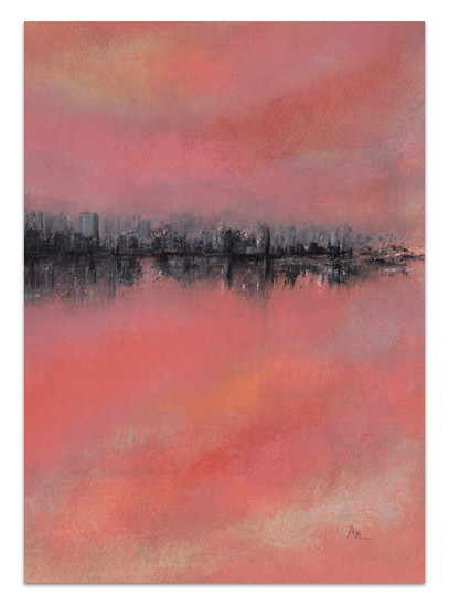 black city line painting in saturated colors of orange pink coral