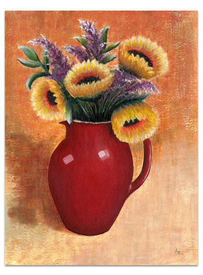 painting of red pitcher of yellow sunflowers