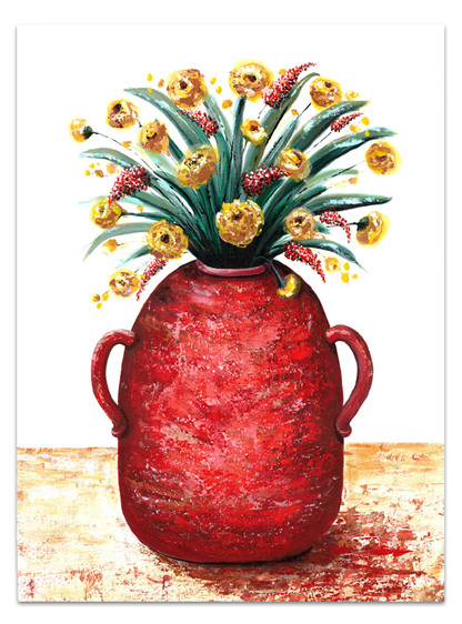 painting of red pottery with yellow flowers