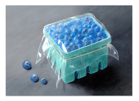 painting of green carton of blueberries gray background