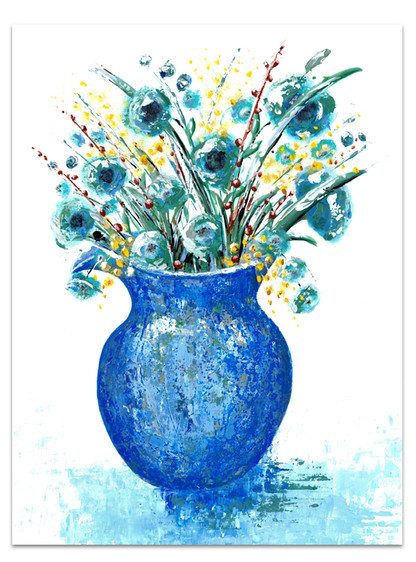 blue impressionism painting of pitcher of flowers