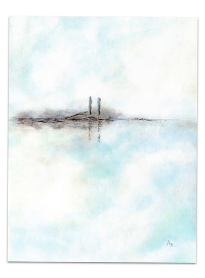 white and blue minimalist landscape water sky soft light colors