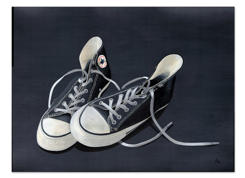original painting in black and white of converse sneakers