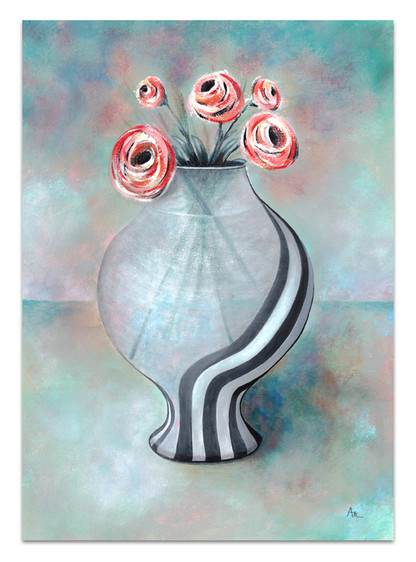 acrylic painting in soft colors of frosted glass vase of flowers
