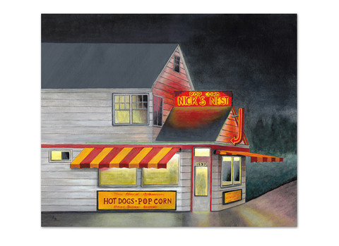 Painting of hot dog shop at night with yellow and red neon signs
