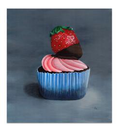 chocolate-cupcake-painting-pink-blue