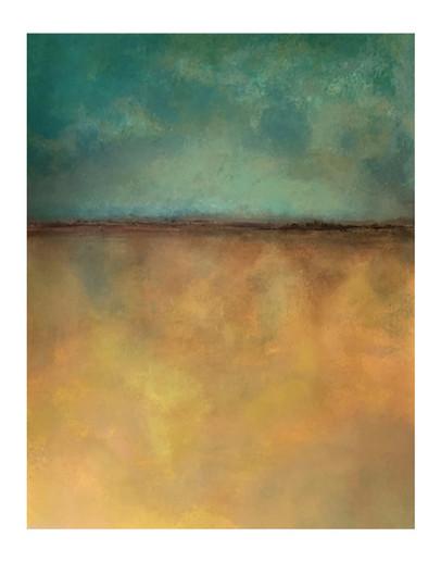 green and gold horizon landscape minimalist painting