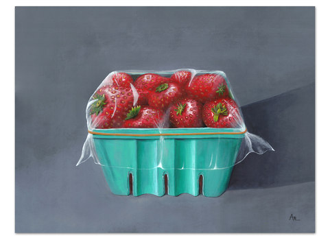 red and green painting of a carton ripe strawberries