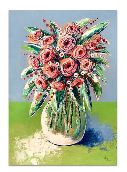original painting pink green blue floral