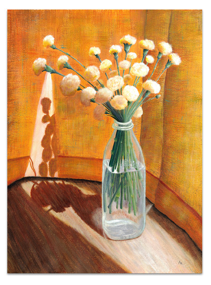 painting of vintage milk bottle and mini carnations in yellow and gold