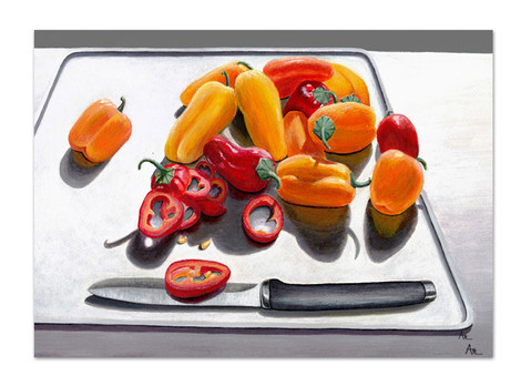painting of red and yellow peppers on a cutting board