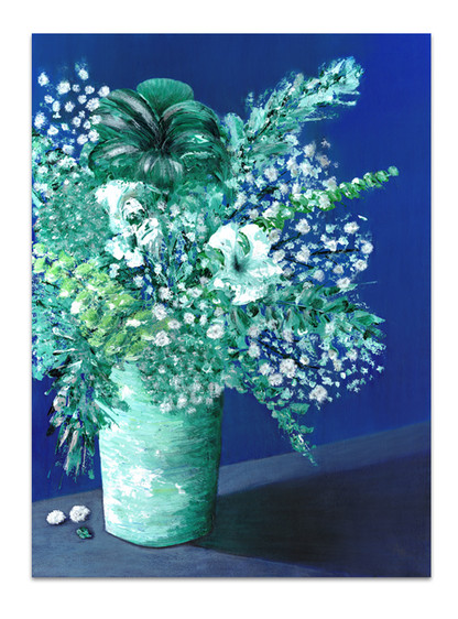 royal blue and green floral painting