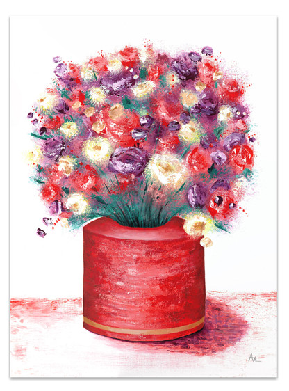 red and purple painting of flowers in a red vase