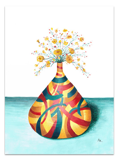 painting of colorful vase with delicate yellow flowers