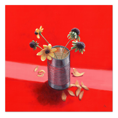 acrylic painting of tin can with flowers in red yellow gray