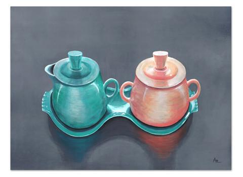 painting of aqua and peach fiestaware sugar and creamer