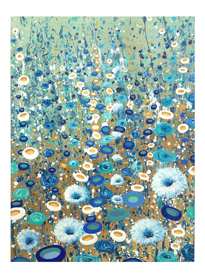splatter art painting of blue and teal flowers