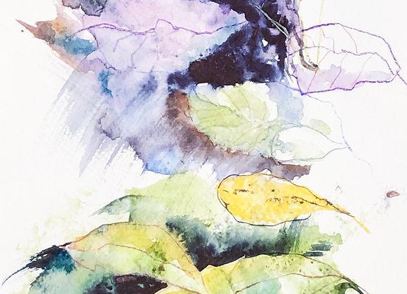 Leaves, watercolor print
