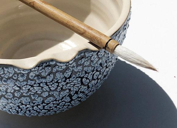 "Watercolor Artist Bowl, Blue Ice, 5-6"" dia x 3-3.5 H"