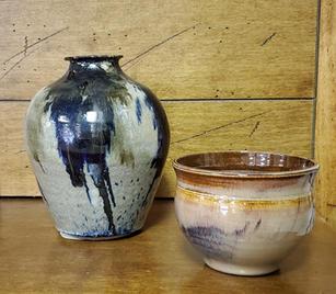 Hand glazed vase & bowl - $30 (pitcher) $25 (bowl)