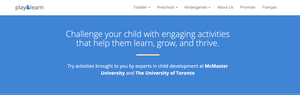 Activities brought by experts in child development at McMaster University and The University of Toronto
