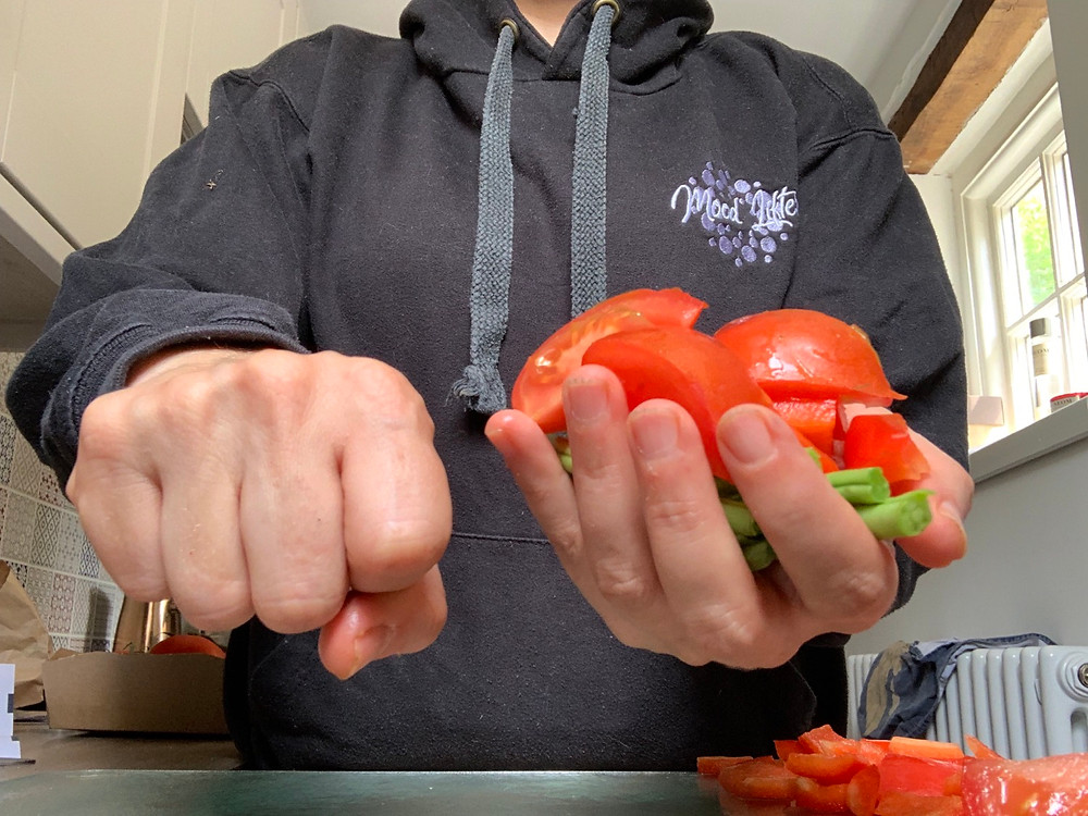 A fist portion size of veg or salad