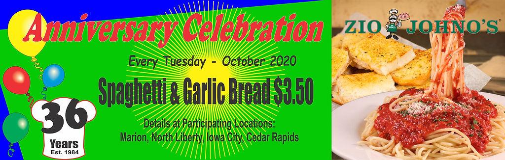 Anniversary Celebration, Garlic Bread, Spaghetti, Zio Johno's, Italian Cuisine