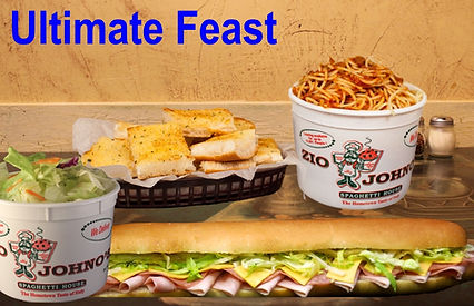 "Bucket of Spaghetti, Bucket of Tossed Salad, Loaf of Garlic Bread, 16"" Gondola Sub Sandwich. Zio Johno's North Liberty, Marion, Iowa City, Cedar Rapids. Carry-out. Delivery. Pasta with a Smile."