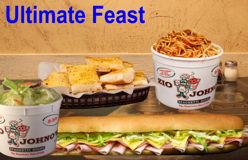 Ultimate Feast. Family Serving. Zio Johno's. Spaghetti, Gondola sub sandwich, dinner salad, garlic bread. The Hometown Taste of Italy. Itilian Cuisine. Marion. Iowa City. Cedar Rapids. North Liberty