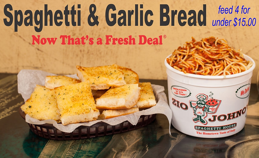 """Feed up to 4 People for under $15.00.   1) Bucket of Spaghetti - Perfect pasta covered in our signature meat sauce. (add Meatballs for a small up charge.)   1) 16"""" Loaf of Garlic Bread -  Our fresh baked sweet bread toasted to perfection with our delicious garlic seasoning."""