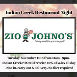 Indian Creek PTO Fundraiser. Zio Johno's Marion Iowa. Tuesday, November 10, 2020. Support your Community.