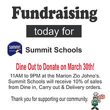 Summit Schools. Dine Out to Donate March 30th. Marion. Iowa, IA. Zio Johno's