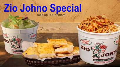 Zio Johno Special. Bucket of Spaghetti, Bucket of Salad, Loaf of Garlic Bread. Zio Johno's. Carry ou, Delivery. Marion, Cedar Rapids, Iowa City, North Liberty