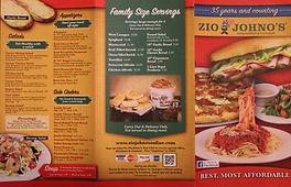 Zio Johno's Menu - Marionndwiches. Kid Friendly. Italian Cusine. Pizza. Pasta. Subs. Parent Approved.