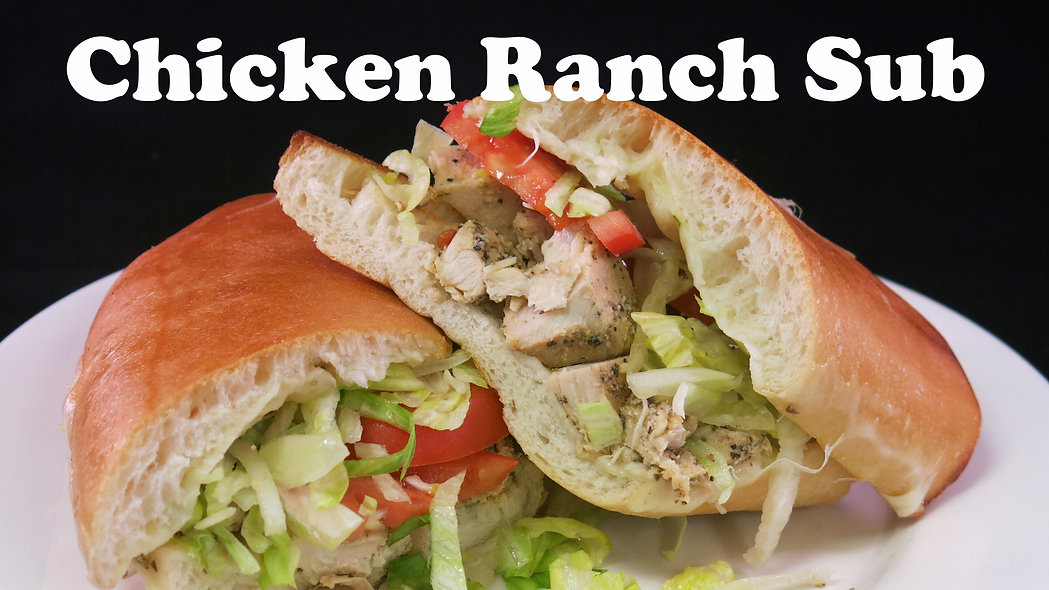Marinated chicken breast covered with melted mozzarella, topped with tomatoes, lettuce & our ranch dressing. On our signature bread, made from scratch daily.