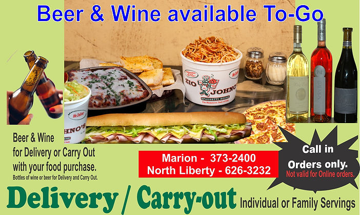 Bottles of wine or beer for Delivery or Carry Out. Zio Johno's.