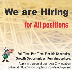 Hiring. Restaurant Employment. Full time. Part time. Flexible Hours. Growth opportunities.