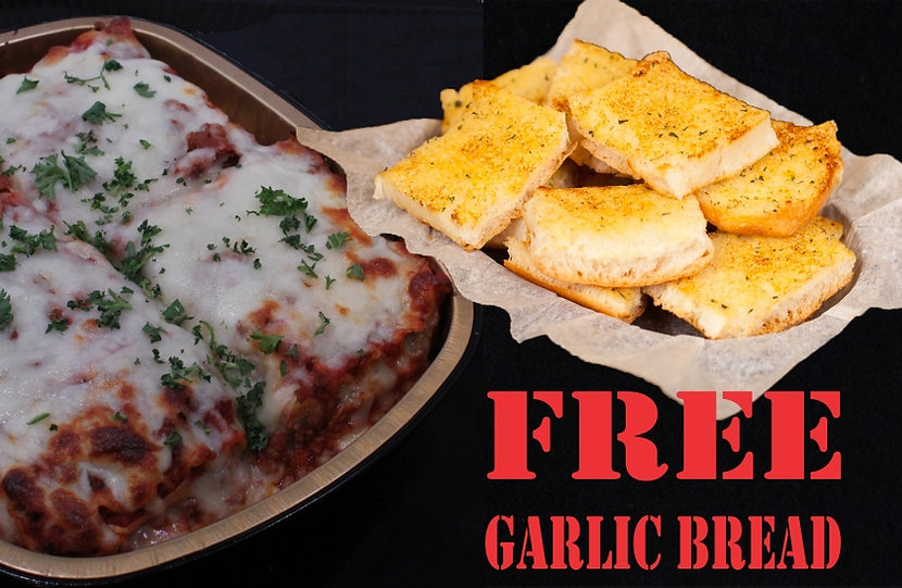 "FREE 16"" Garlic Bread with Family Sized Lasagna. Zio Johno's. Traditional Italian baked meat lasagna. Simply the best! Experience delicious Italian Cuisine for the whole family! Zio Johno's. Cedar Rapids, Iowa City, North Liberty, Marion"