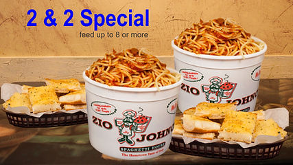"2 & 2 Special 2) Buckets of Spaghetti 2) 16"" Loaves of Garlic Bread Zio Johno's, Family Meals, Carry-out / Delivery. Bucket of Spaghetti. Loaves of Garlic Bread. Cedar Rapids, Marion, Iowa City, North Liberty. The Hometown Taste of Italy."