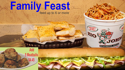 Family Feast, Family Srving, Carry out, Delivery, Spaghetti, Garlic Bread, Meatballs, Gondola Sub Sandwich, Zio Johno's, Italian Food, Cedar Rapids, Marion, Iowa City, North Liberty