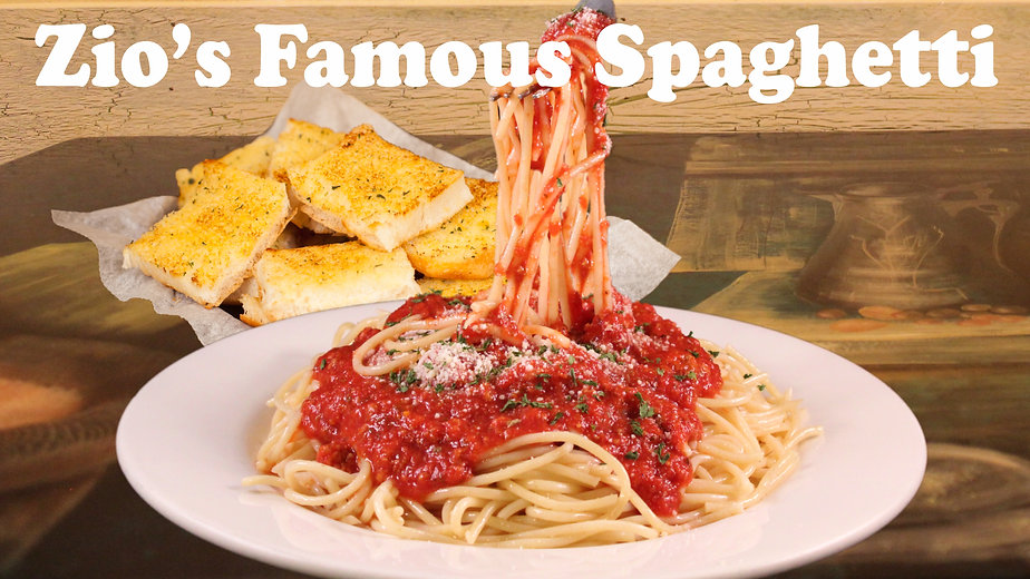 Zio's Famous Spaghetti. Pasta with a Smile. Zio Johno's. The Hometown Taste of Italy