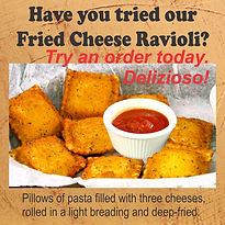 Fried Cheese Ravioli. Pillows of pasta filled with three cheeses, rolled in breading, deep fried.