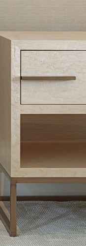 Maple Veneered Bedside Table with Bronze detailing