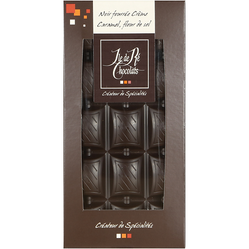 Tablette chocolat NOIR fourré  crème caramel fleur de sel - 100g