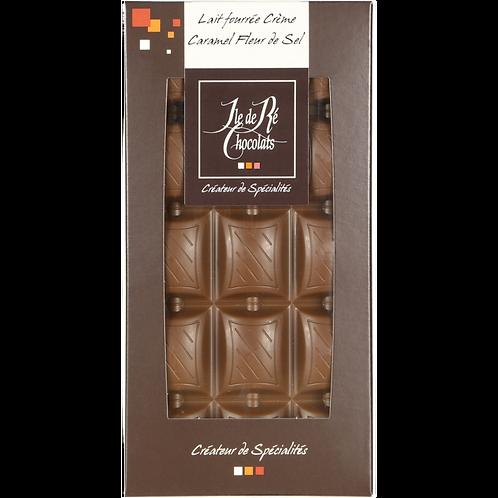 Tablette chocolat LAIT fourré crème caramel fleur de sel - 100g