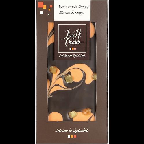 Tablette chocolat NOIR marbré écorce orange 100g