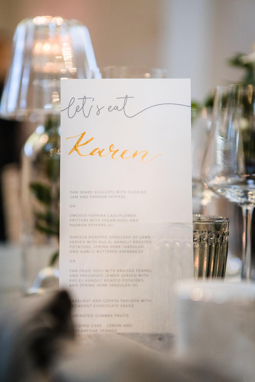 wedding menu stationary