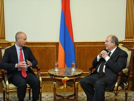 Armenia's President Armen Sarkissian received BAE President Luigi Amati
