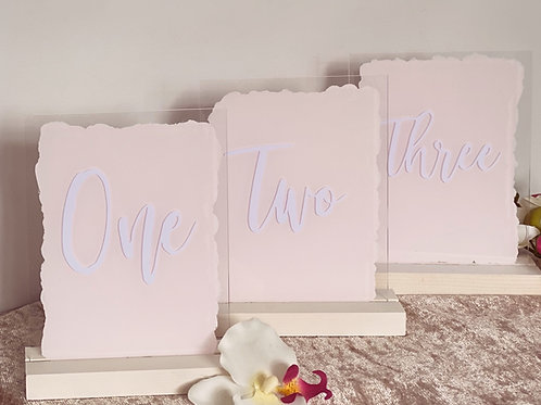 Acrylic Table Numbers with coloured background